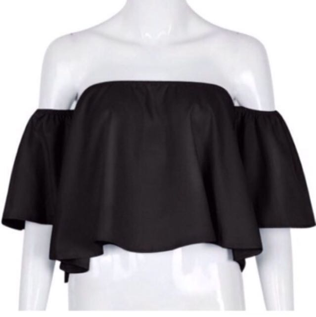 Brand New Medium Black Off The Shoulder Top