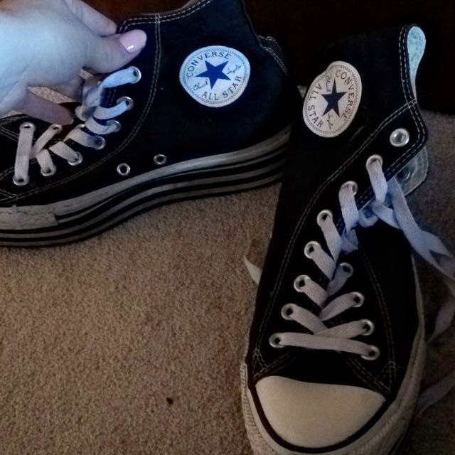 Converse High Tops (platform)- Black And White