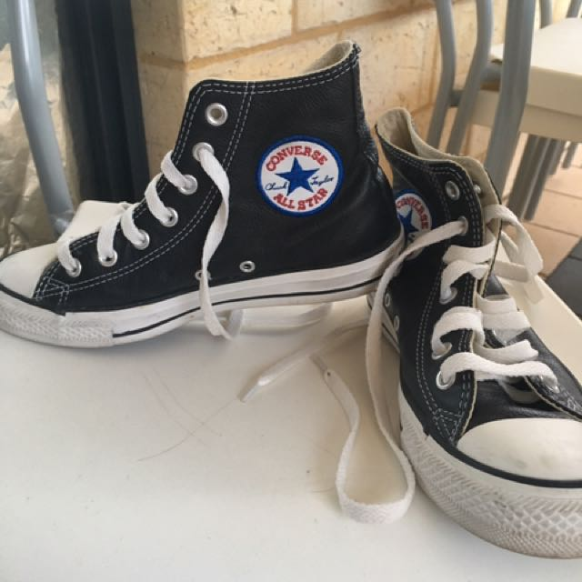 Converse leather black high top