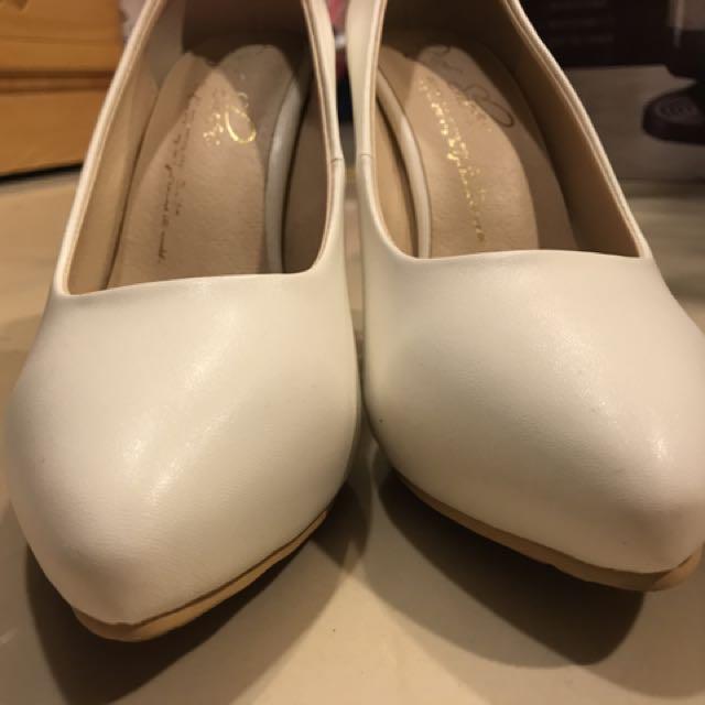 D+af 白色粗跟鞋、10公分高跟鞋、前高後高、婚禮必備