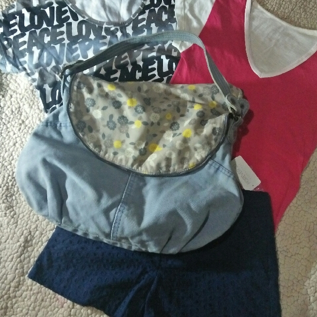 denim bag + forever21 shorts + 2tops