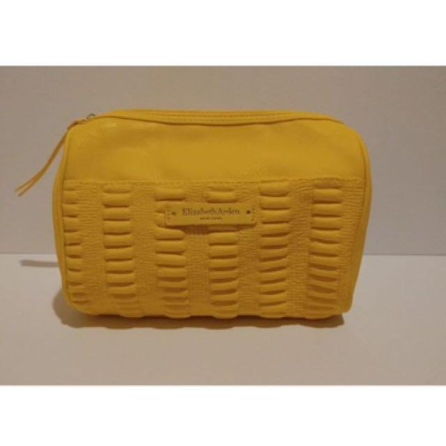 Elizabeth Arden Yellow Faux Leather Zip Close Makeup Bag
