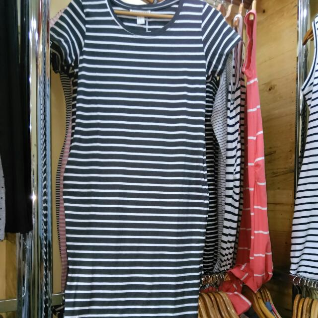 Forever 21 Stripe Dress Cotton Wih Slit