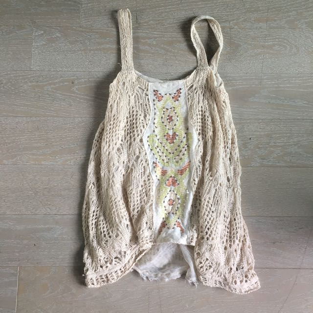 Free People Crochet Tank with Beading
