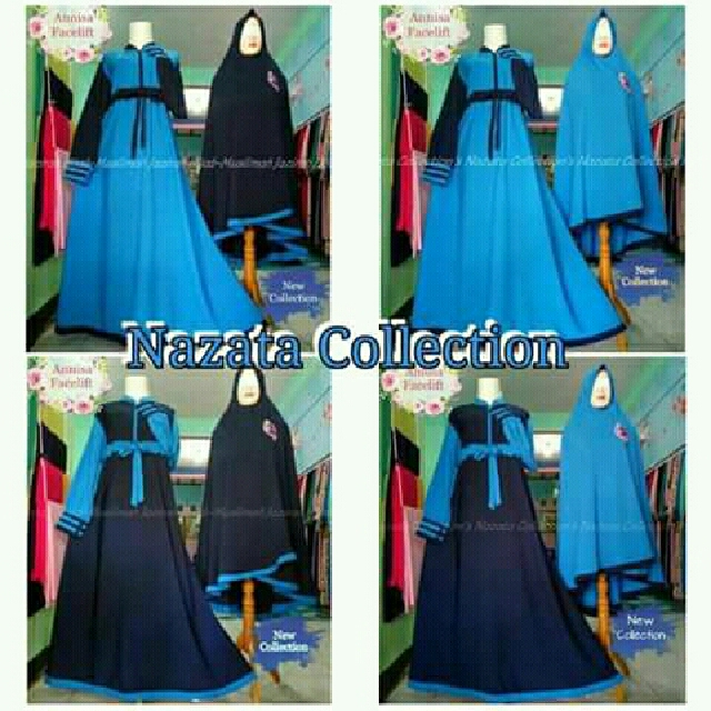 Gamis Set Annisa Facelift Syari Biru Mix Dongker Women S Fashion