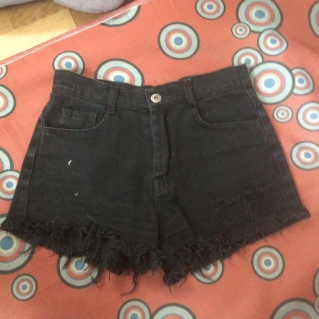 High waisted Tattered Black Shorts