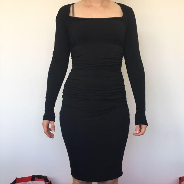Kit and Ace Technical Cashmere Black Dress - Sz US 4 (AU8)
