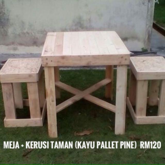 Meja Kerusi Palet Kayu Pine Home Furniture Others On Carousell