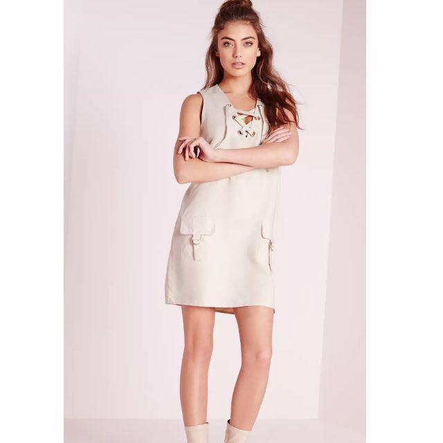 42989296c0d0 MISSGUIDED Faux Suede Lace Up Shift Dress, Women's Fashion, Clothes ...
