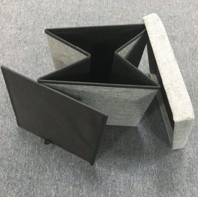 Groovy New Foldable Small Grey Storage Box Stool Bench Machost Co Dining Chair Design Ideas Machostcouk