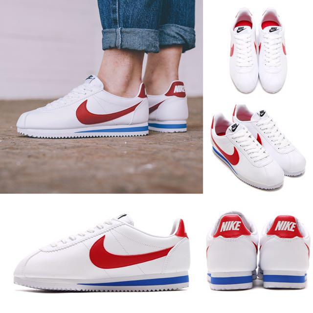 NIKE CORTEZ BASIC LEATHER 807471-103 白 紅尾 白紅藍 阿甘 復古 慢跑鞋 男女鞋