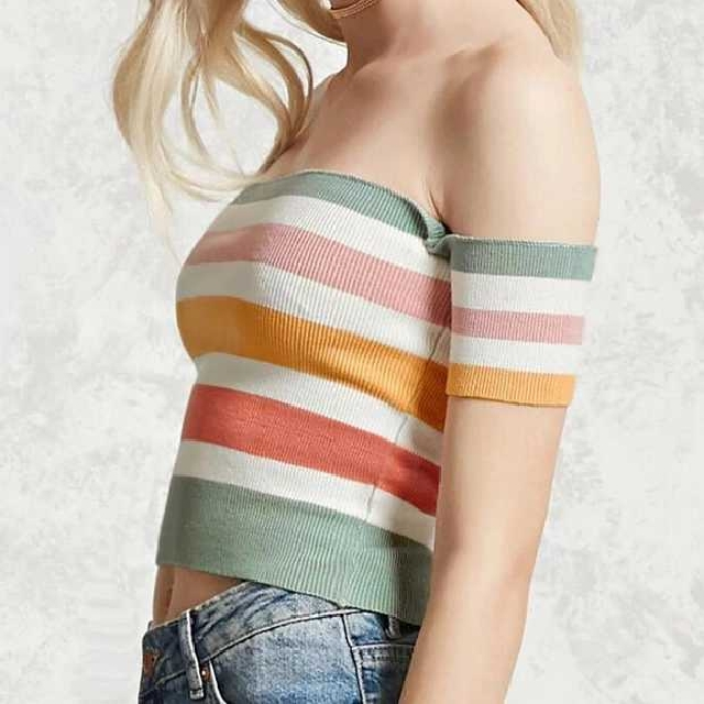 Off Shoulder Pastel Stripe Top [PO]