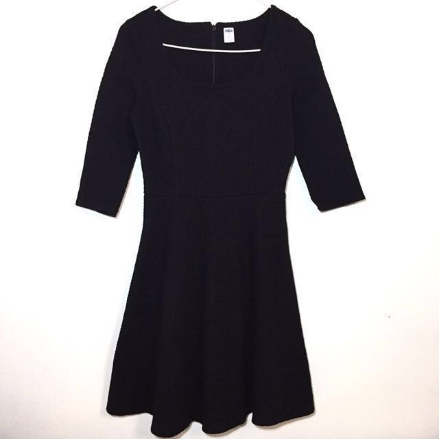 Old Navy Black Fit And Flare Dress Quarter Sleeves