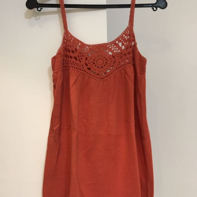 Orange spaghetti strap with crochet details