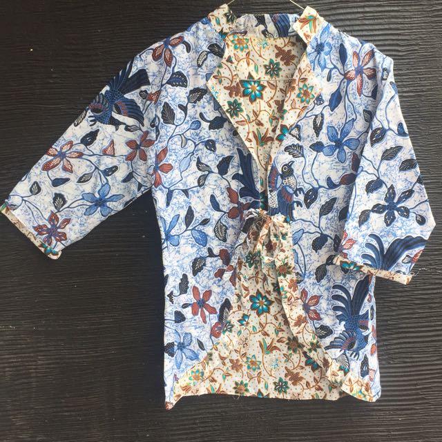Outer / blazer batik formal bolak balik 2 model