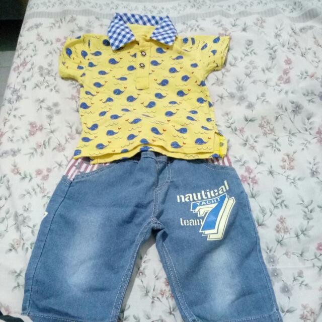 Setelan Kaos Kerah Sm Jeans
