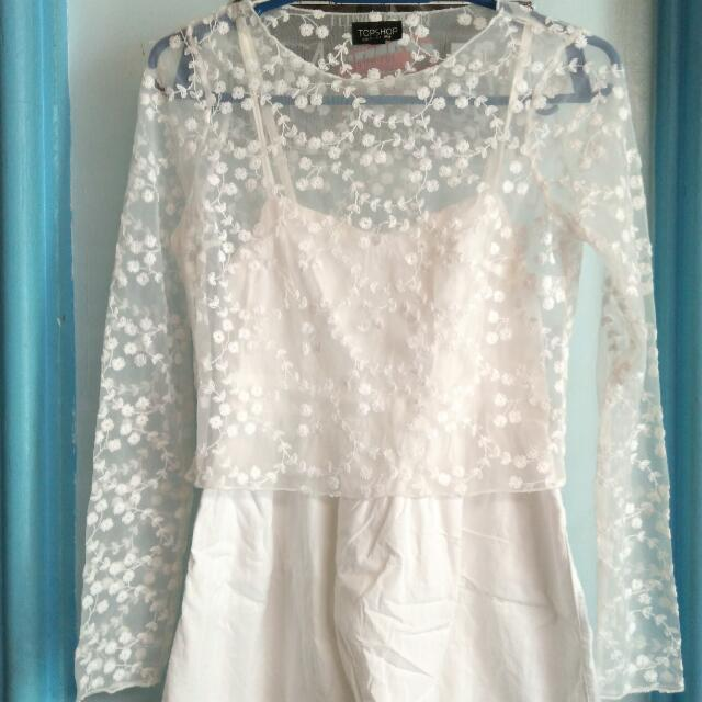 (FREE SHIPPING) TOPSHOP Mesh Top With Embroidery