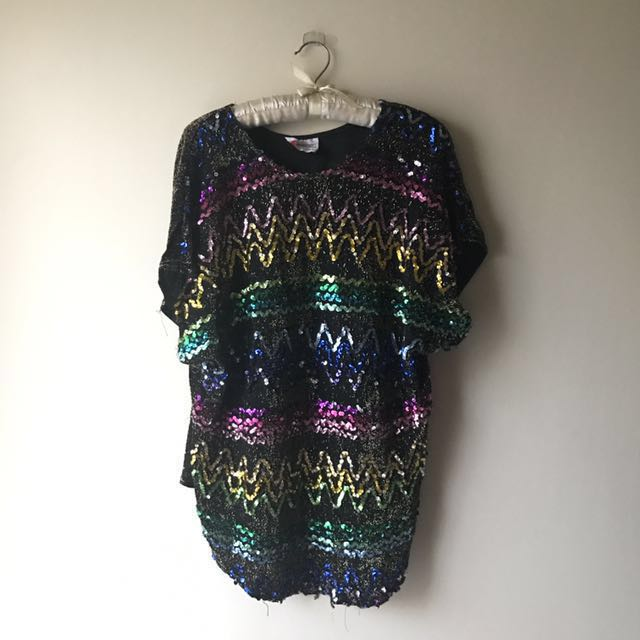 Vintage Rainbow Sequin Party Top S Cocktail Nastygal Blouse