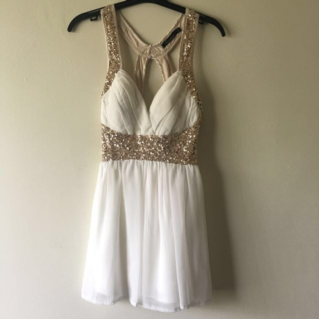 White and Gold Sequin Dress