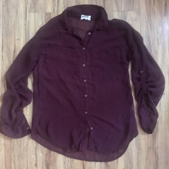 XS Sheer Berry Blouse