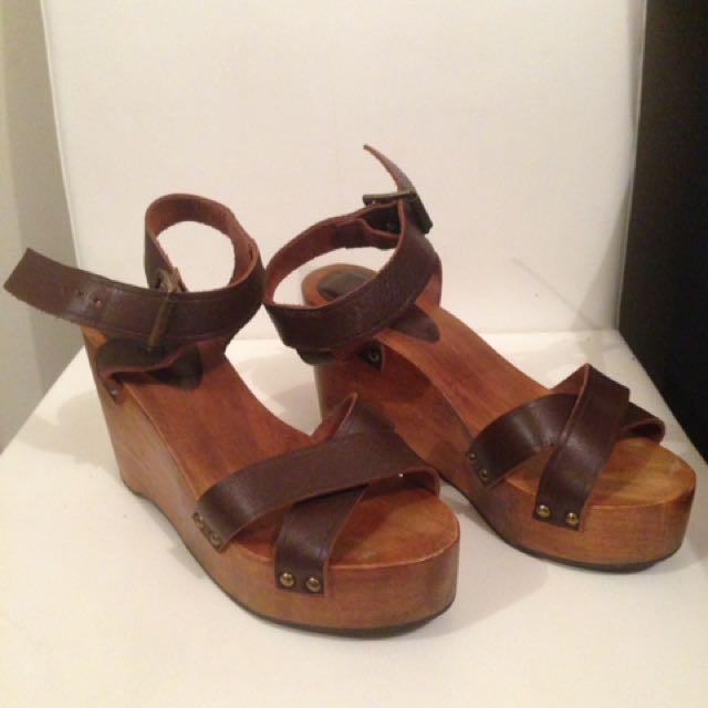 Zara Brown Leather Wooden Platform Sandals Eu36 Womens Fashion
