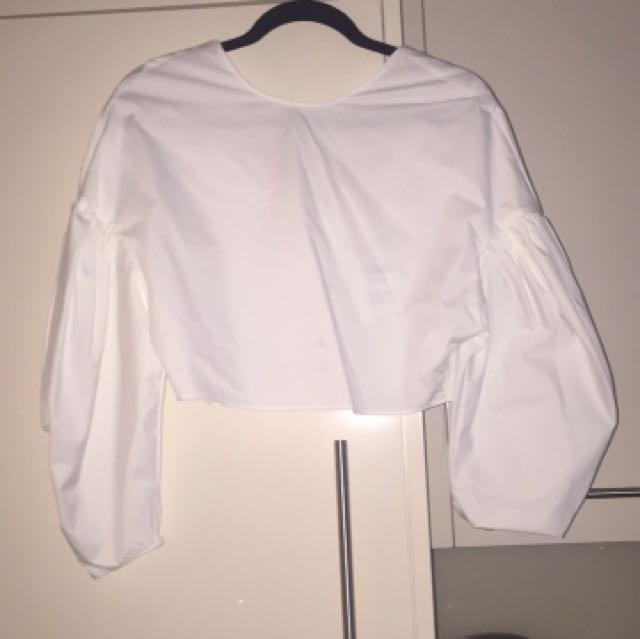 Zara white blouse with buttoned back