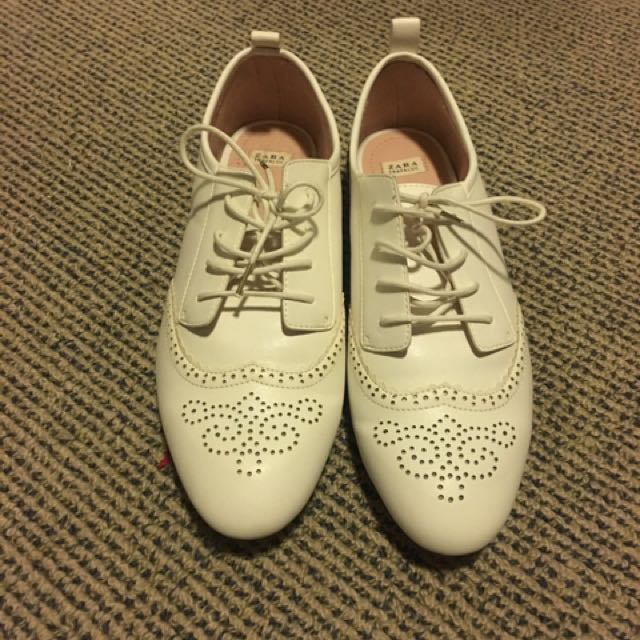 ZARA White Lace Up Loafers