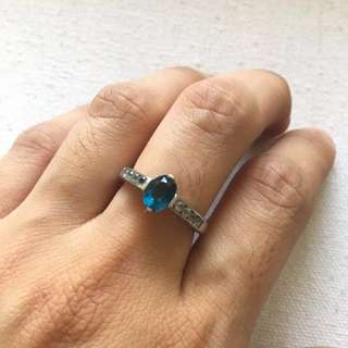 Authentic Sapphire and Zircon Ring