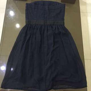Mango navy blue tube dress