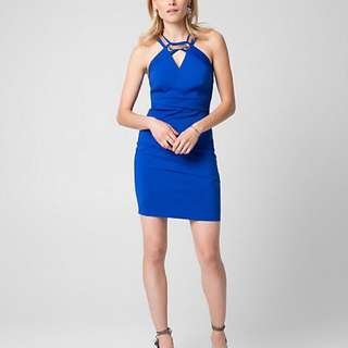 Let Chateau Royal blue and gold accent cocktail dress