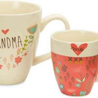 Grandma & Me Set 12 oz Mug with Pink Mini Floral 4oz Mug