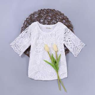 ✔️STOCK - WHITE LACE SHORT SLEEVES BABY GIRLS DRESS KIDS CHILDREN CLOTHING