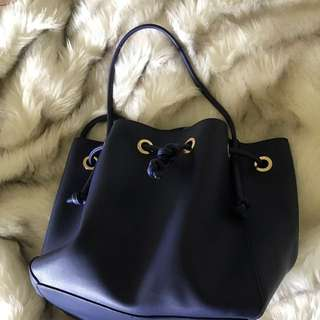 Blue PU leather bucket bag