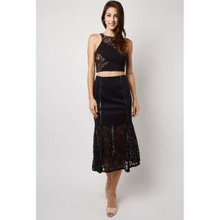 (UK10) Black Long Skirt With Lace