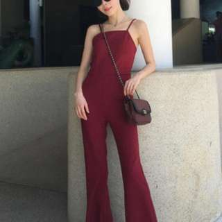 BNWT Red flared jumpsuit