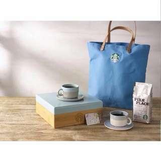 Starbucks 星巴克17週年 水藍色提袋