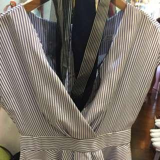 全新條紋籃白上衣