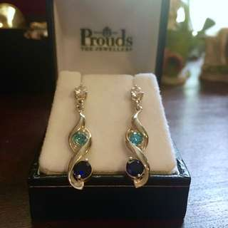 Prouds Blue and silver drop earrings