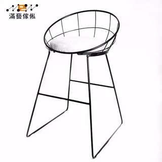〈滿藝設計傢俬〉924 簡約吧台椅 鐵藝吧椅 金色高腳凳 現代餐椅 金屬鐵線復古酒吧椅子