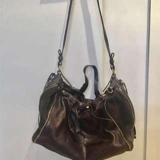 Dark Brown Leather Handbag Made In Italy 🇮🇹