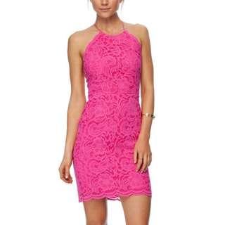 Hot Pink Bardot Backless Lace Up Dress