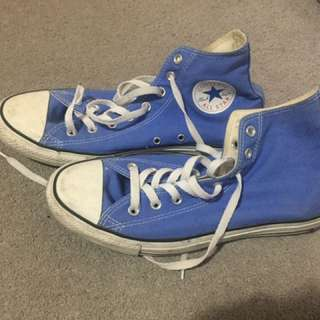 CONVERSE BLUE HI-TOPS MENS 10 WOMENS 12