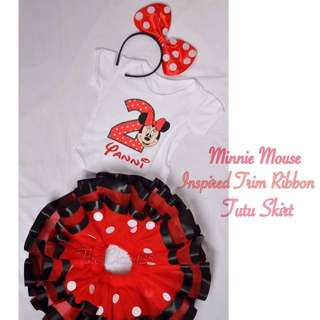 Minnie Mouse inspired Trim Ribbon Tutu skirt & customized onesie