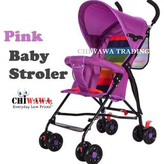 Ultralight Foldable Stroller Steel Frame with 8pcs Wheels Outdoor Use【Pink】