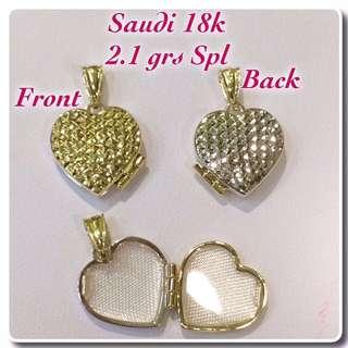 Locket Pendant 18k Saudi Gold