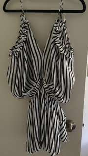 Striped open shoulder playsuit