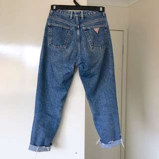 Vintage Guess jeans denim frayed boyfriend