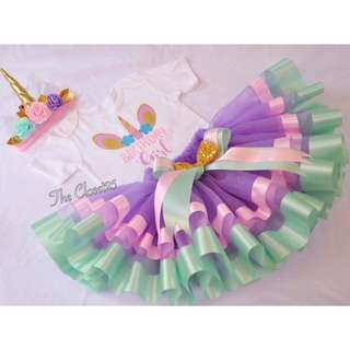 Unicorn inspired Trim Ribbon Tutu Skirt, customized onesie and headpiece