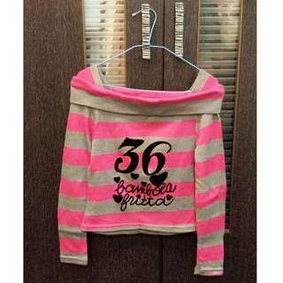 全新) 針織條紋短版毛衣