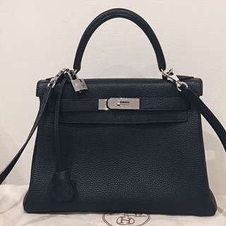 Hermes Kelly 28 Togo Leather Handbag Bag Black